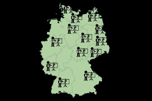 Karte mit Veranstaltungsorten von Aussteigerveranstaltungen in Deutschland